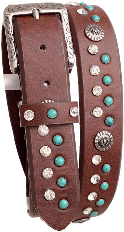 Nomad Creek Womens Turquoise Rhinestone Studded Leather Belt (BROWN, ML)