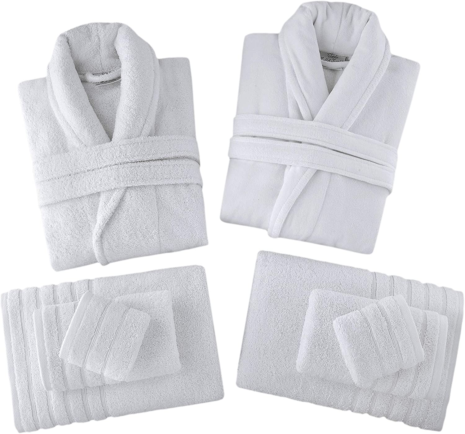 Classic Turkish Towels Velour Shawl Bathrobe Set - Includes Shawl Terry Robe and 8 Piece Towel Set Made with 100% Turkish Cotton (White, Gift Box Set)