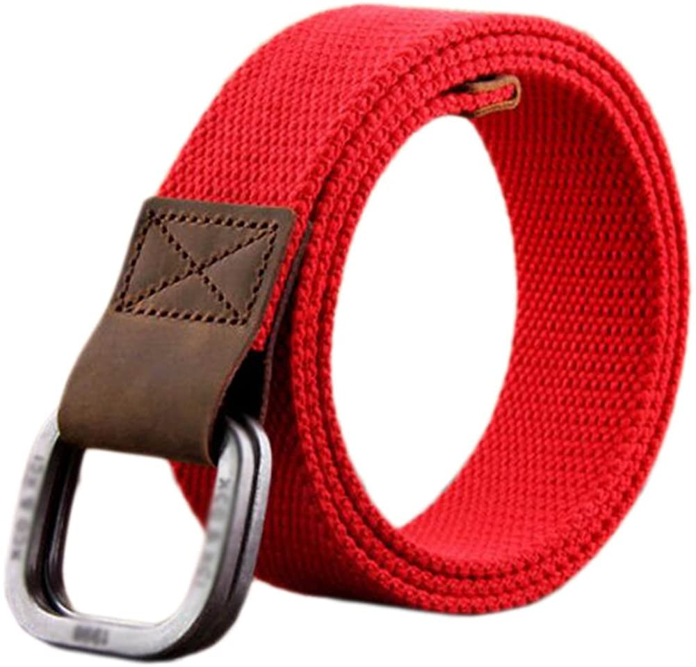 Mens Belt Canvas Braided Belts for Man with Double Ring Buckle(A03)
