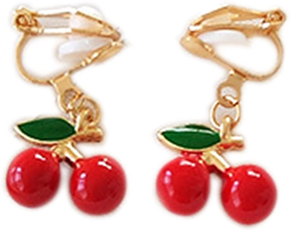 Clip On Earrings Fruit Cherry Earrings Double Style Dangle Delicate Gold Plated Casual Gift