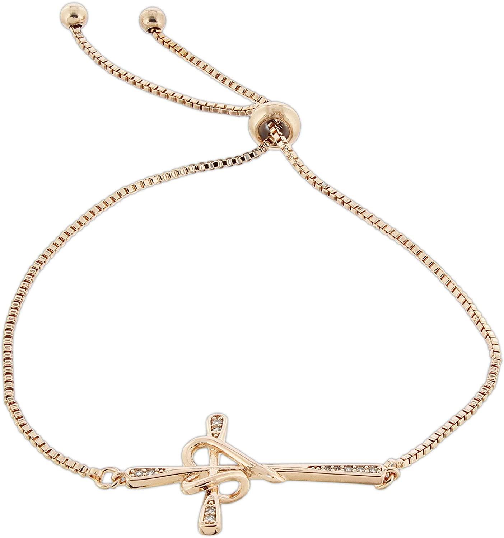 Rose Gold Tone Cubic Zirconia Bolo Bracelet