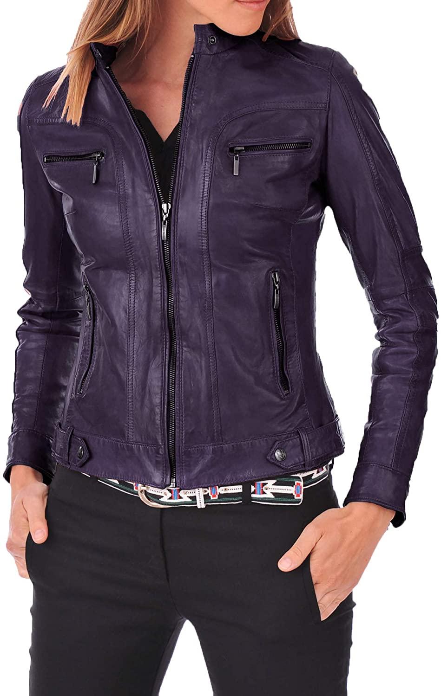 SKINOUTFIT Womens Leather Jacket Stylish Motorcycle Biker Genuine Lambskin 73