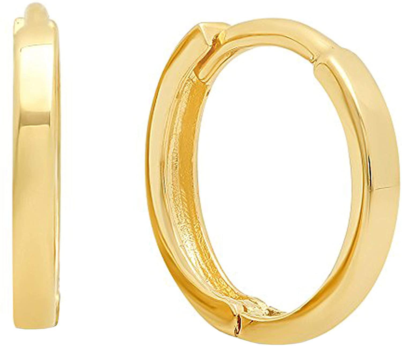 Dazzlingrock Collection 14K Hoop Earrings (9.5 MM inside diameter), Yellow Gold