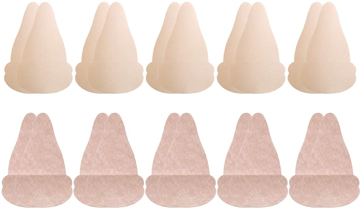 iiniim 10 Pairs Satin Waterdrop Shaped Invisible Breast Lift Up Bra Tape Sticker Disposable Adhesive Bras