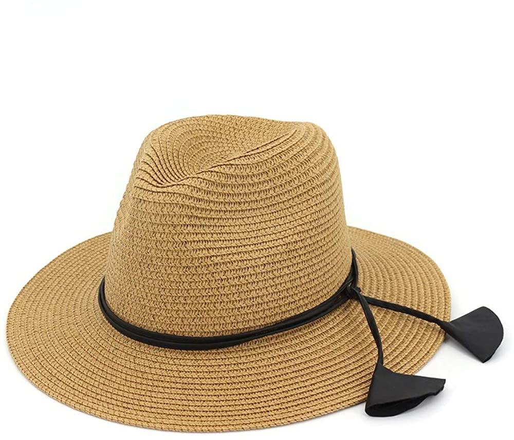 HYJ Sir Jazz hat hat Lady Couple hat Outdoor Beach Sun Visor hat (Color : Khaki, Size : One Size)