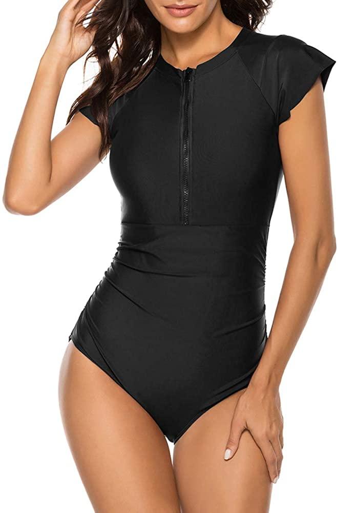 Wolddress Womens Zip Front One Piece Rashguard Surfing Sport Swimsuit Swimwear