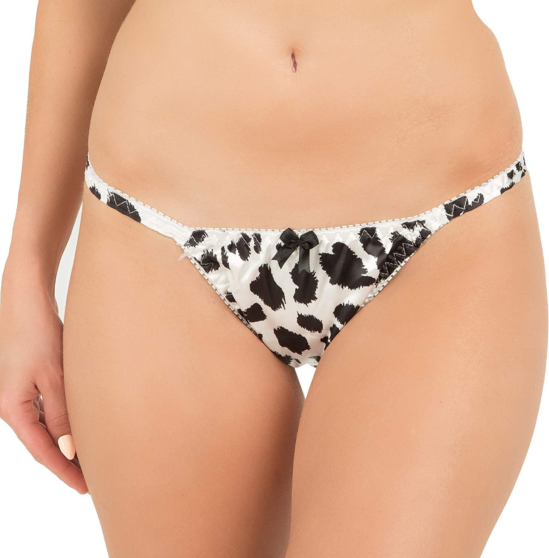 Satini Women's Leopard Print Tanga Bikini Briefs Satin Panties