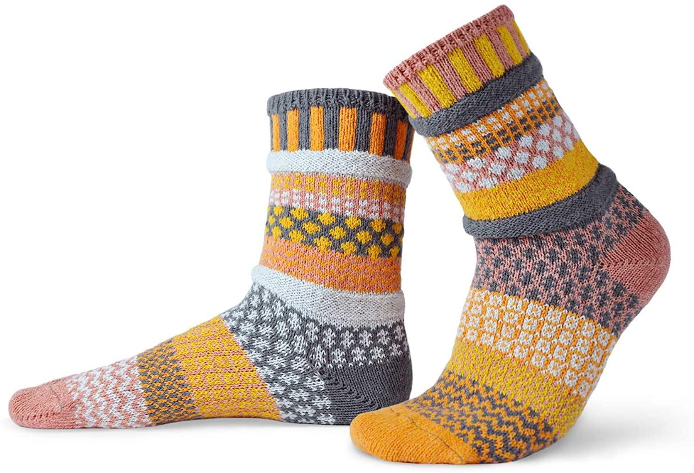 Solmate Socks - Mismatched Crew Socks; Made in USA; Buckwheat Medium