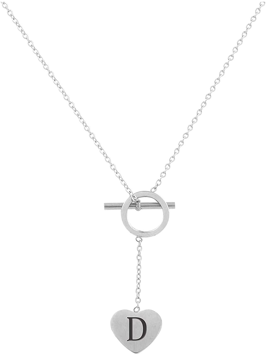 Pink Box Heart Lariat Initial Necklace D - Silver