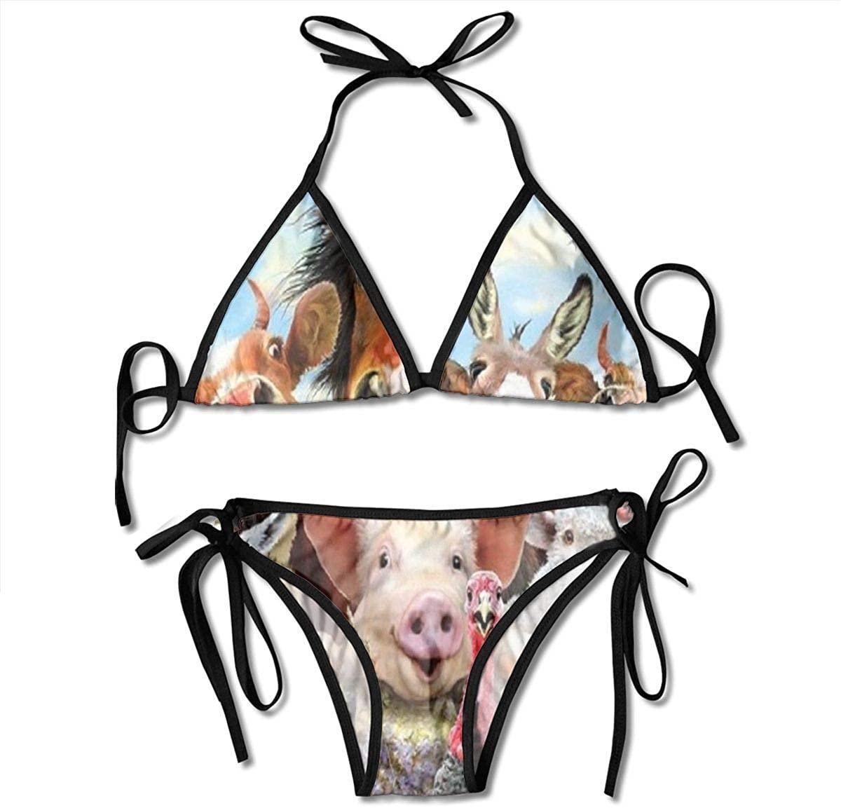 Women's String Triangle Bikini Set Two Piece Farm Animal Swimsuit Black