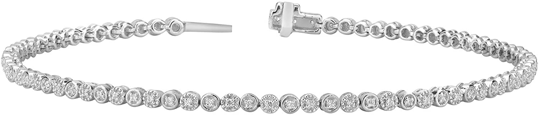 14K Gold Plated Silver 0.25CT Round D/VVS1 Diamond Float Prong Set Tennis Bracelet for Women