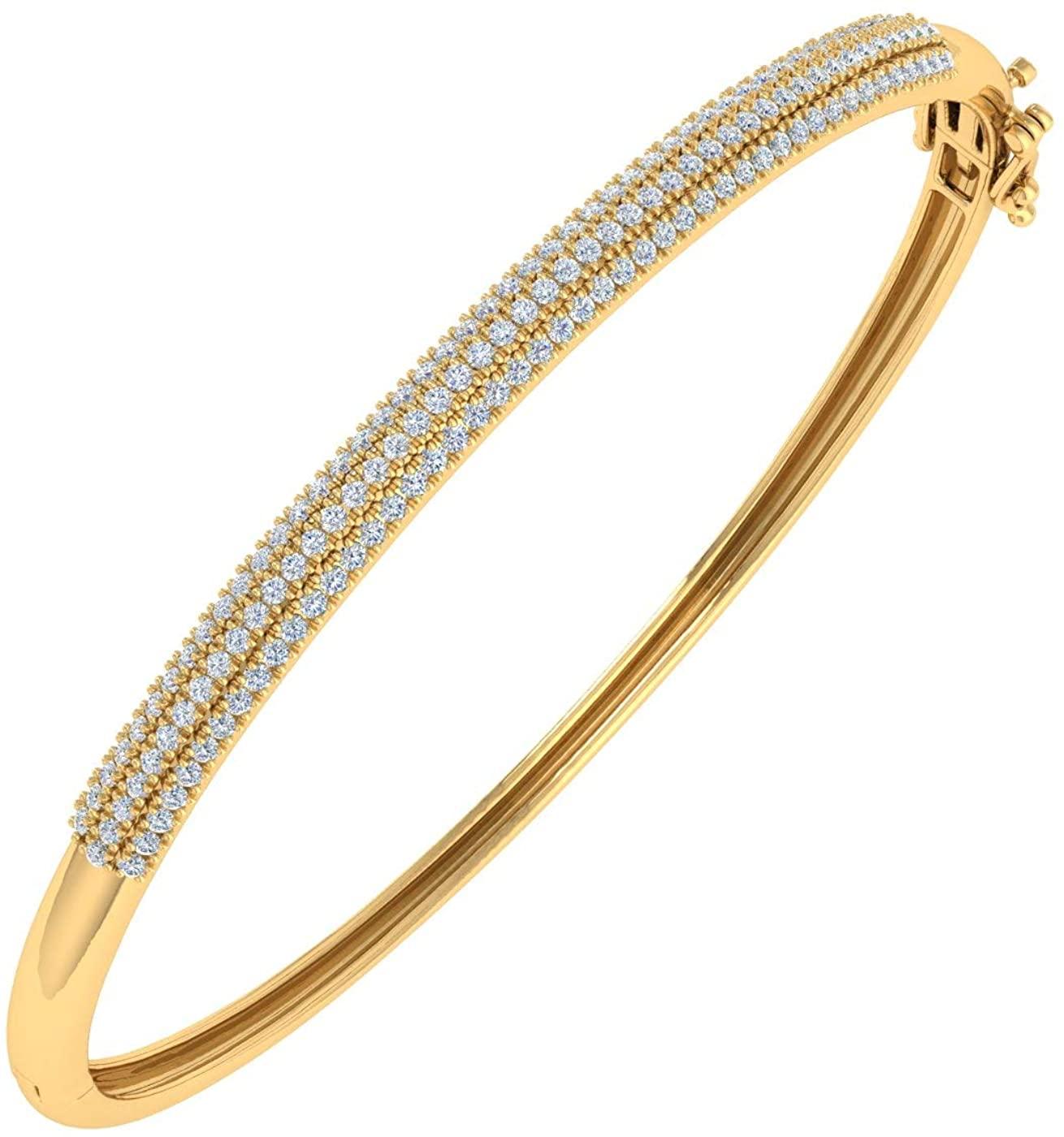 1 Carat Natural Diamond Bangle Bracelet in 10K Gold