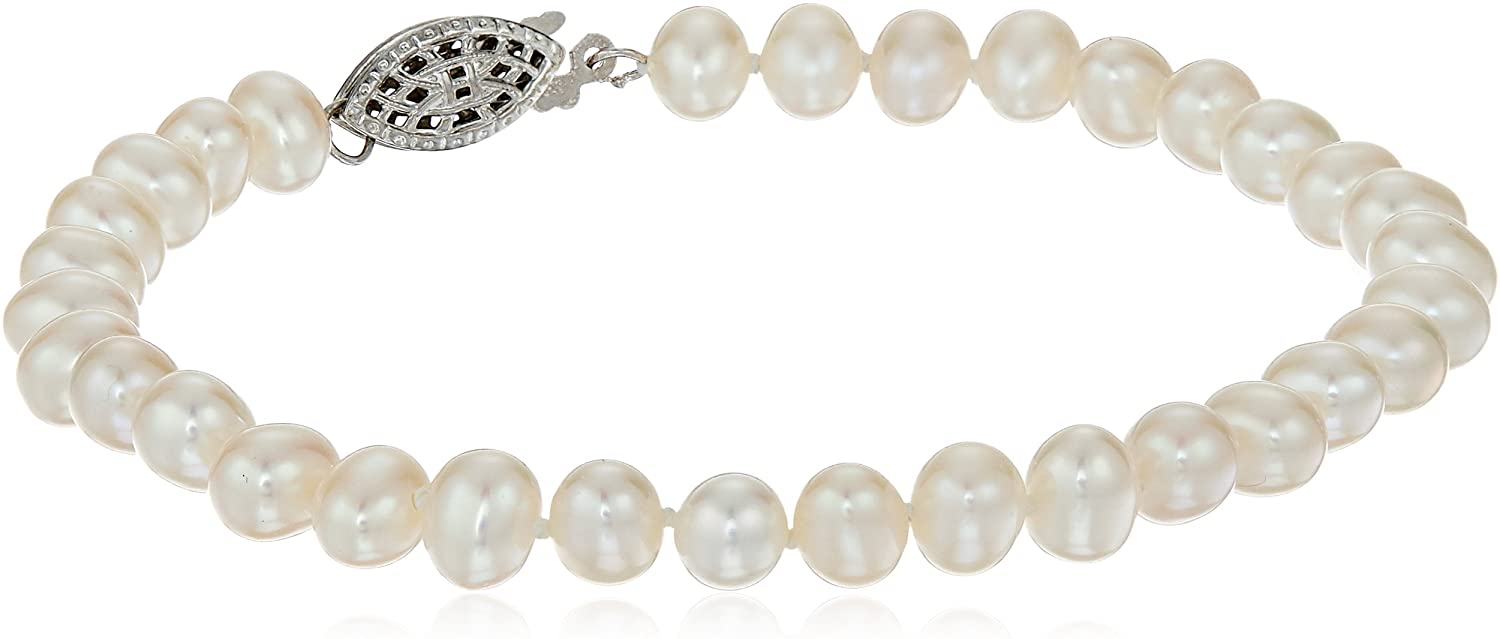 Sterling Silver White Freshwater Cultured A Quality Pearl Bracelet (5.5-6mm), 7.25