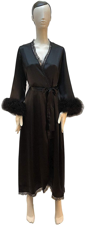 Michealboy Womens Fur Cuff Bathrobe Long Lingerie Sheer Robe Pajamas Sleepwear
