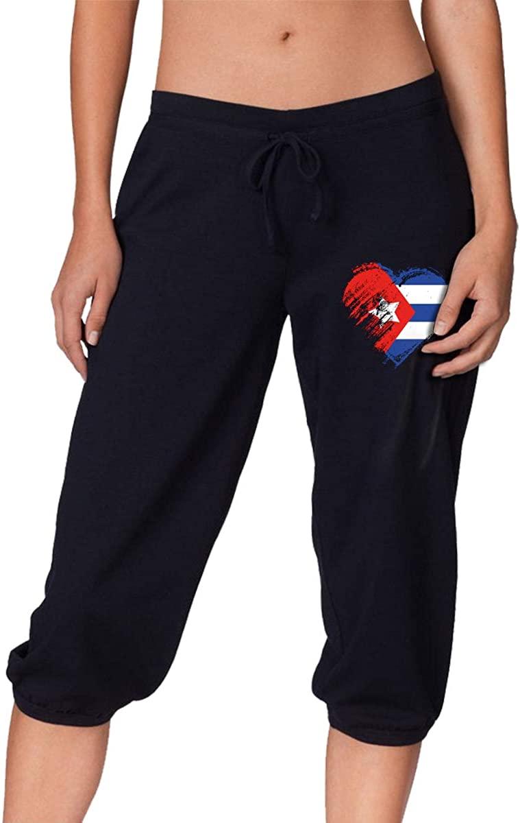 Cuba Heart Love Fashion Training Jogger Sport Shorts Knee Capris Pants for Women