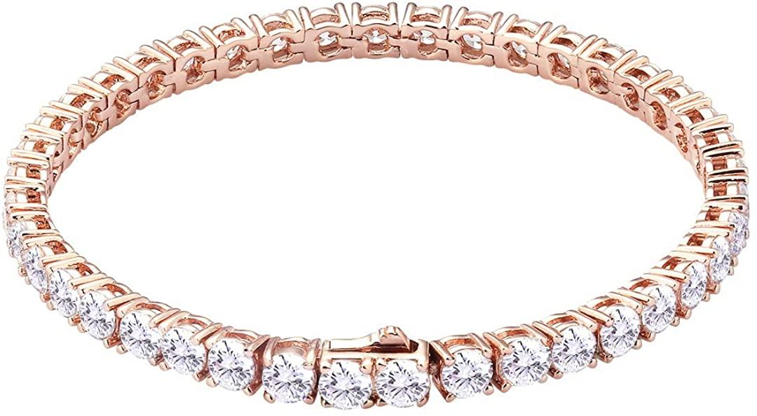 KRKC&CO S925 Sterling Silver 4mm Tennis Bracelet, 14k Gold Iced Out Tennis Bracelet, Prong-Setting 5A Cubic Zirconia Stones, Urban Street-wear Hip Hop Jewelry, Bracelets for Women