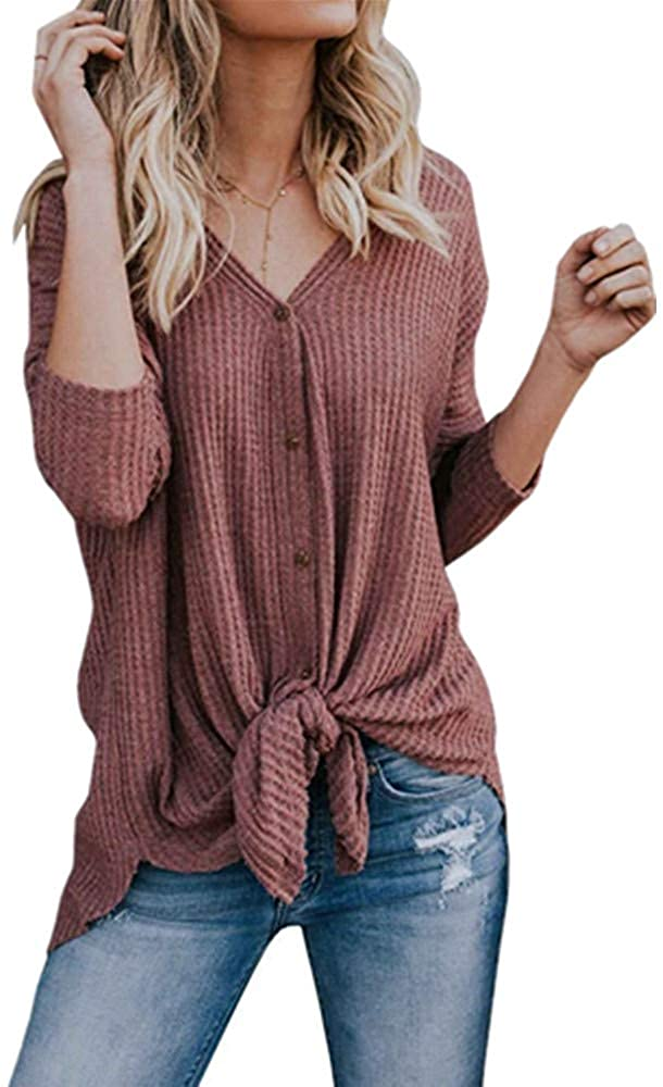 Womens V Neck Button Down Thermal Knit Henley Tops Casual Ribbed Blouse Shirt
