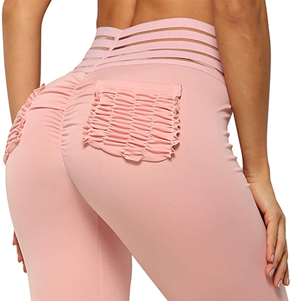 Women Fit Compression Yoga Pants with Pockets High Waist Athletic Pants Tummy Control Stretch Workout Leggings