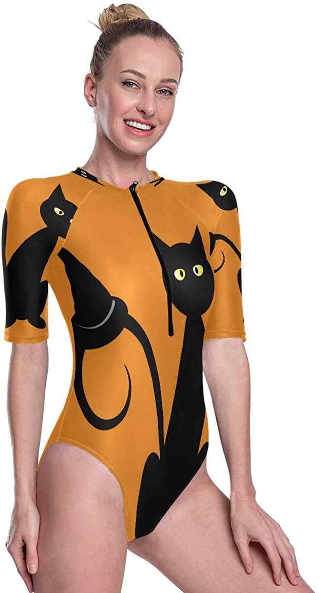 Women's One Piece Short Sleeve Rashguard Swimsuit Black Halloween Cat with Witch Hat Pumpkin Surf Swimwear
