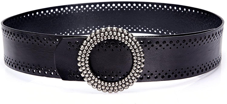 Genuine 2018 New Brand Top Quality Belt For Houseile Womens Vintage Real Cowhide Wide Decorative Girdles Dresses Coat Waist Belts (Black)