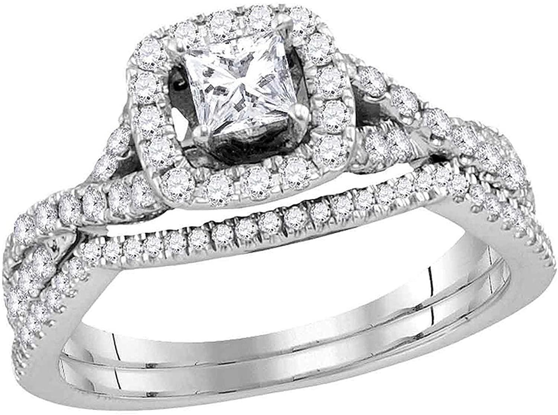 Dazzlingrock Collection 0.98 Carat (Ctw) Princess Diamond Bridal Wedding Ring Set 1 Ctw, 14K White Gold