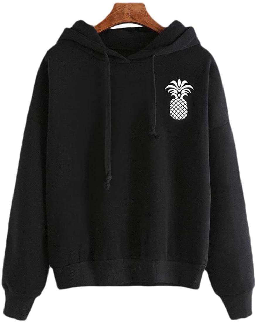 CYJ-shiba Women's Solid Hoodies Pineapple Printed Casual Sweatshirt Tops Blouse