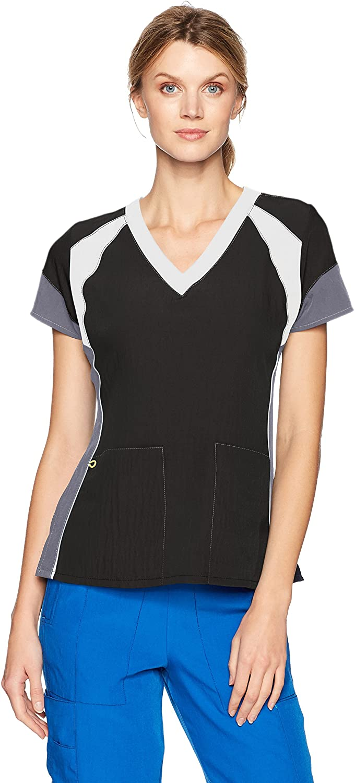 WonderWink Women's Four-Stretch V-Neck Color Block Scrub Top