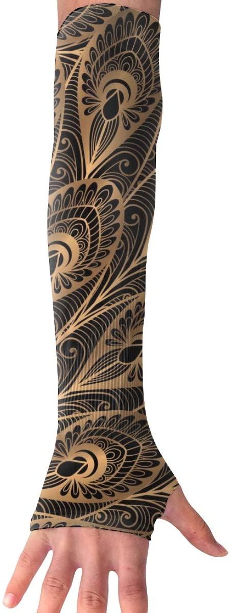 MASDUIH Luxury Gold Black Peacock Gloves Anti-uv Sun Protection Long Fingerless Arm Cooling Sleeve