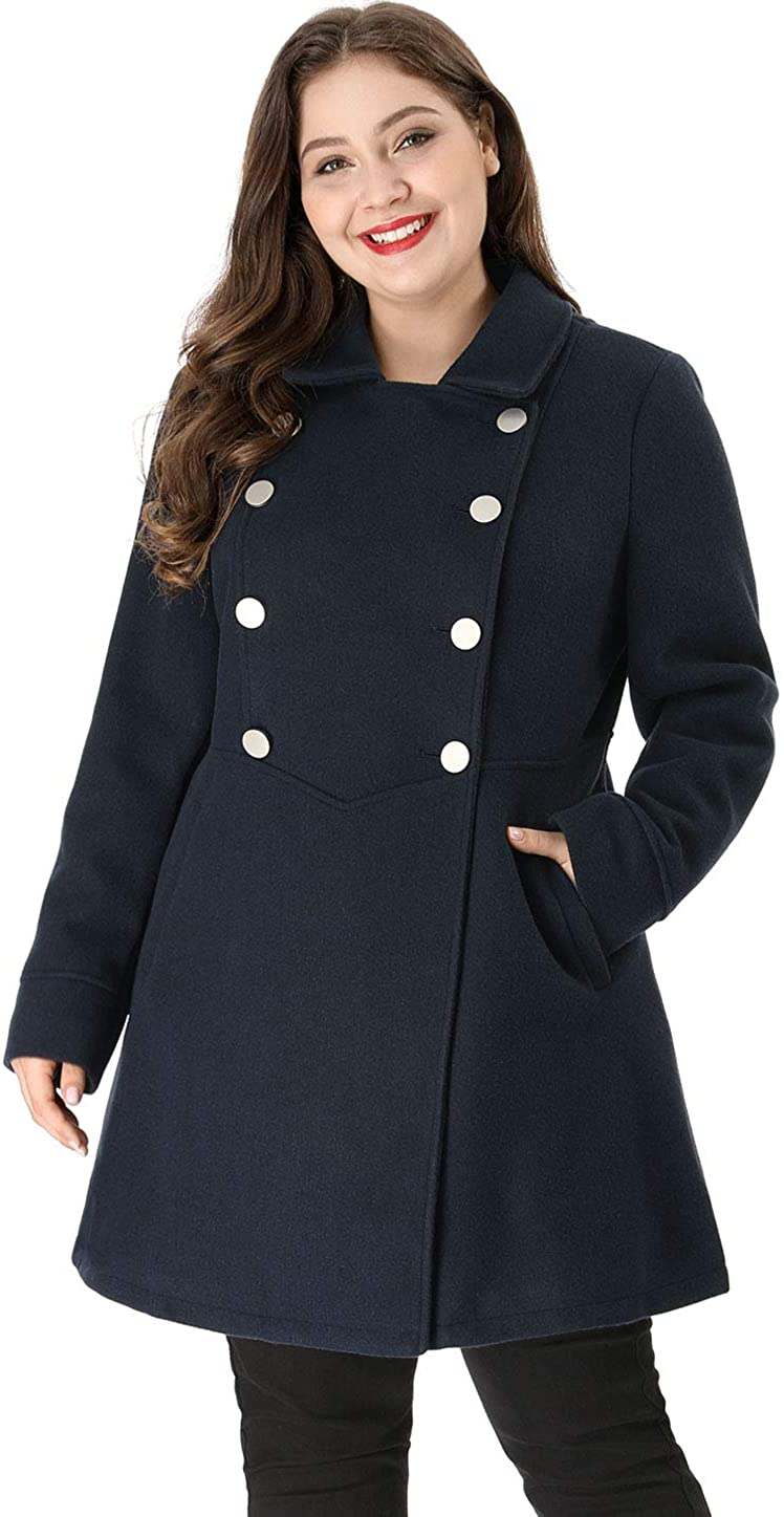 Agnes Orinda Women's Plus Size Coats A-Line Peter Pan Collar Double Breasted Coat