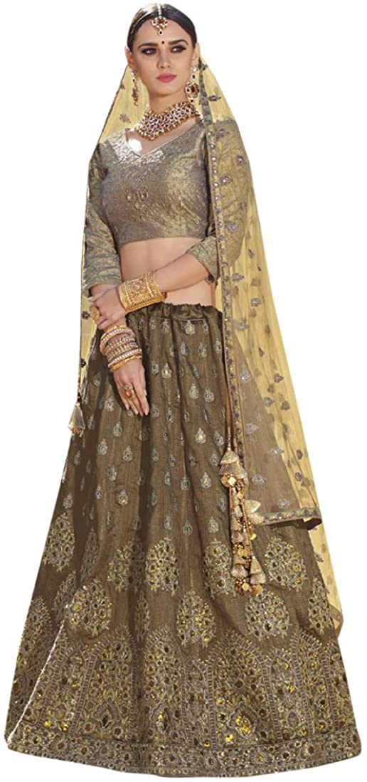 9194 Ethnic Indian Silk Lehenga Choli Dupatta Bridal Party Festive Pakistani Designer Women Girls