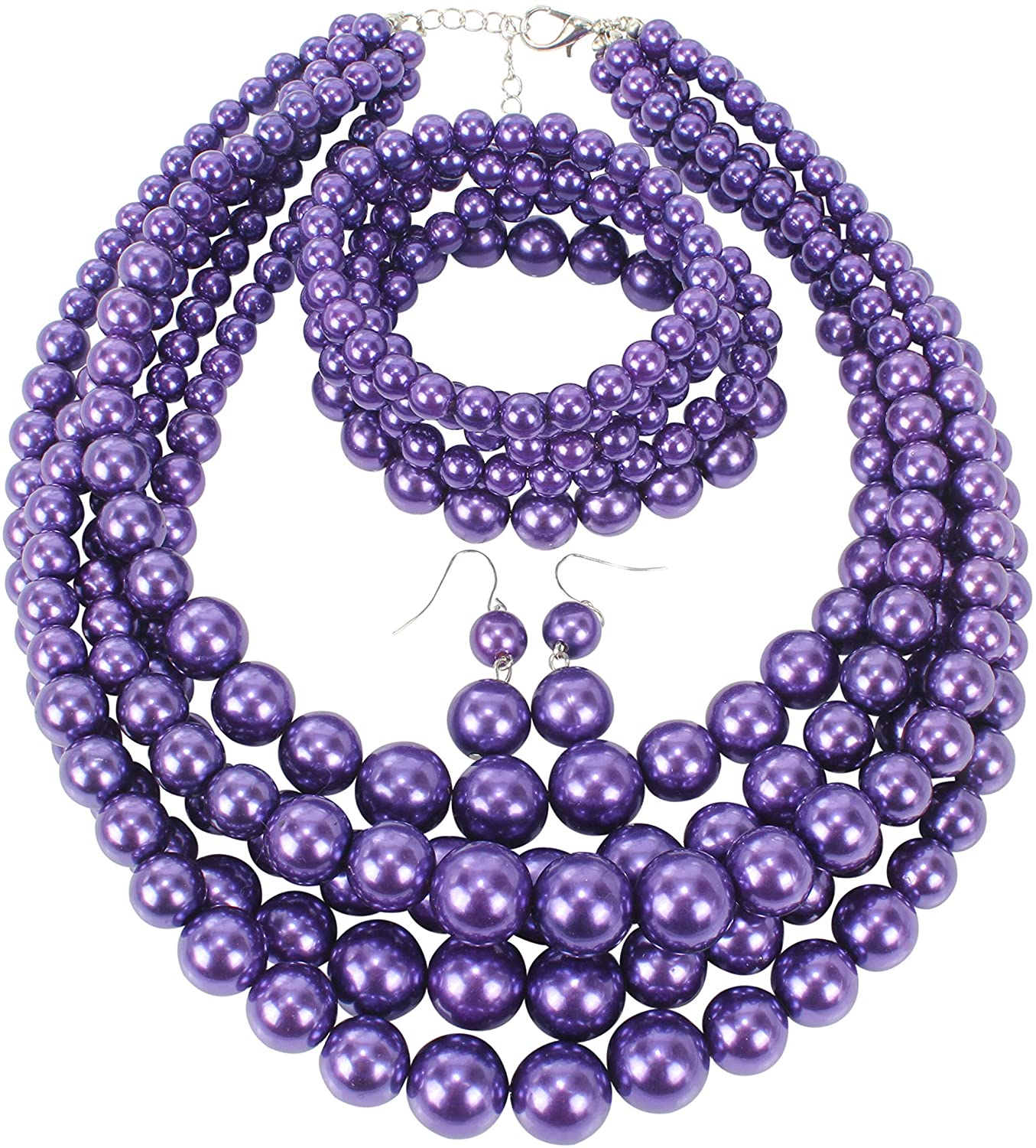 HaHaGirl Faux PearlStrands Jewelry Sets for Women Include Necklace Bracelet and Earrings Set