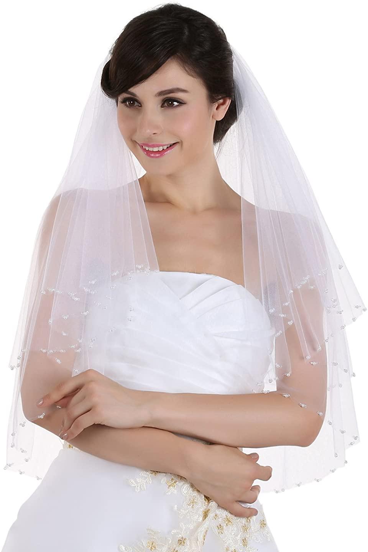 SAMKY 2T 2 Tier Crystal Pearl Beaded Bridal Wedding Veil