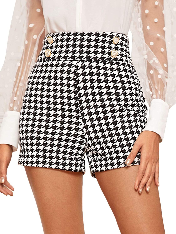 Floerns Women's Houndstooth High Waist Double Button Shorts