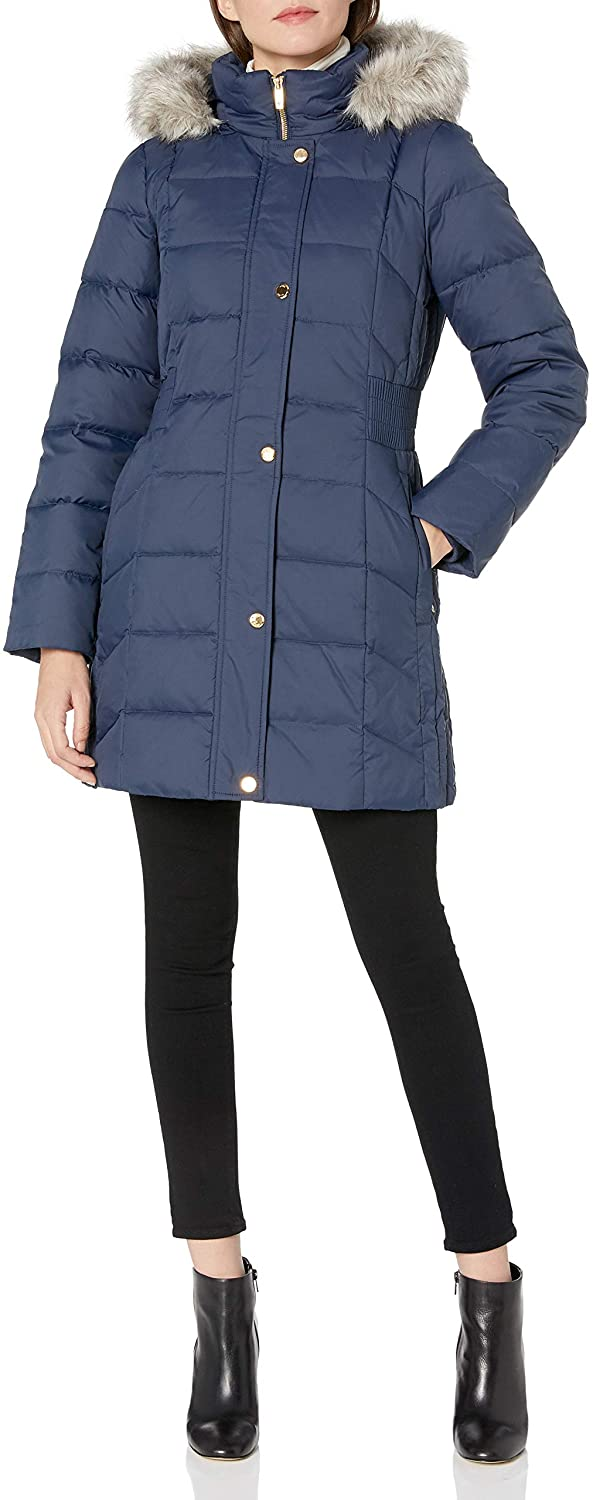 Anne Klein Women's Hooded Boxed Quilt Coat with Elastic Waist Detail