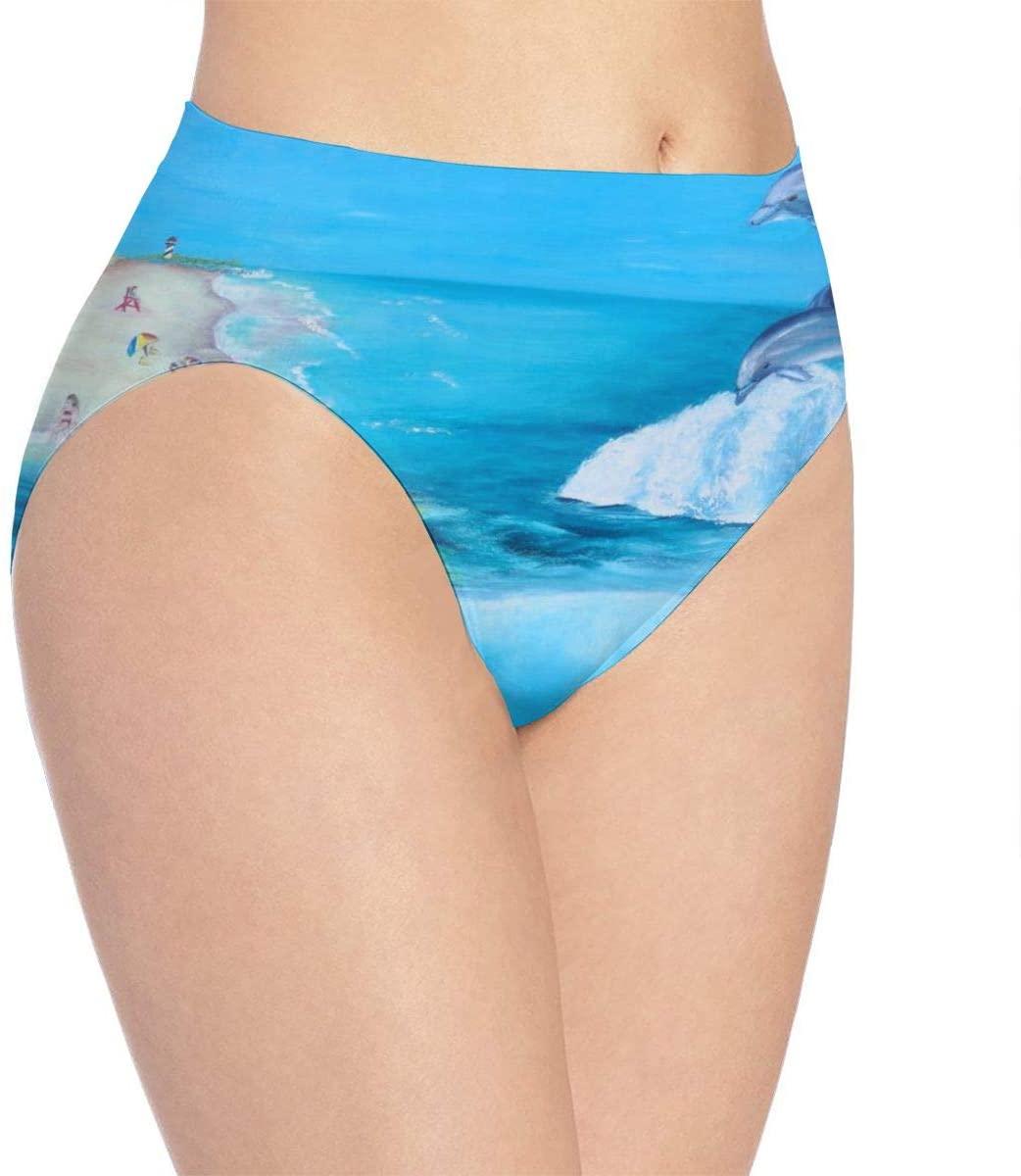 Kjaoi 3D Print Soft Women's Underwear, Sea Tortoise and Dolphin Fashion Flirty Sexy Lady's Panties Briefs Small