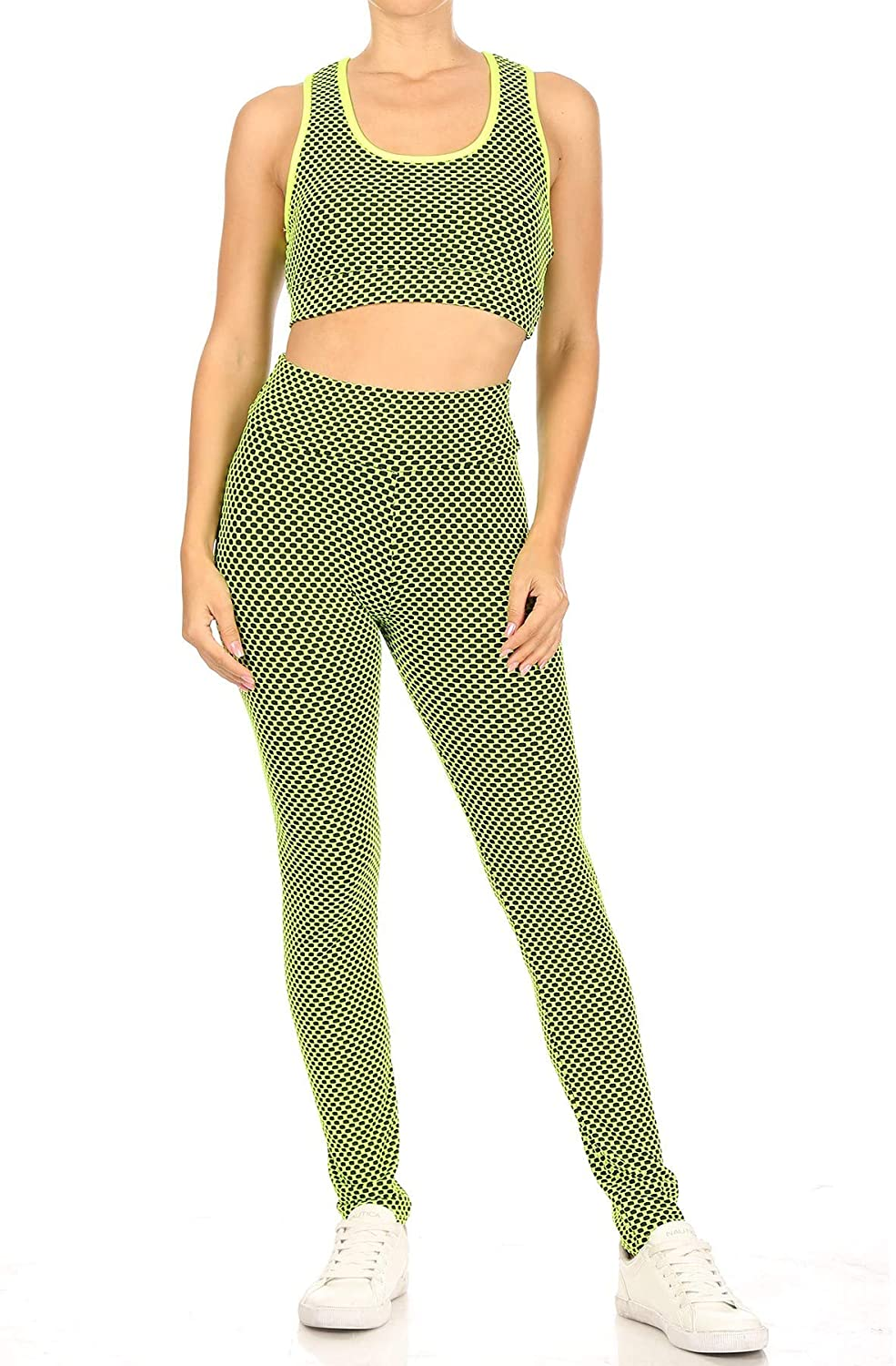 Women's Honeycomb Butt Lifted Activewear Full Length Leggings with Crop Top