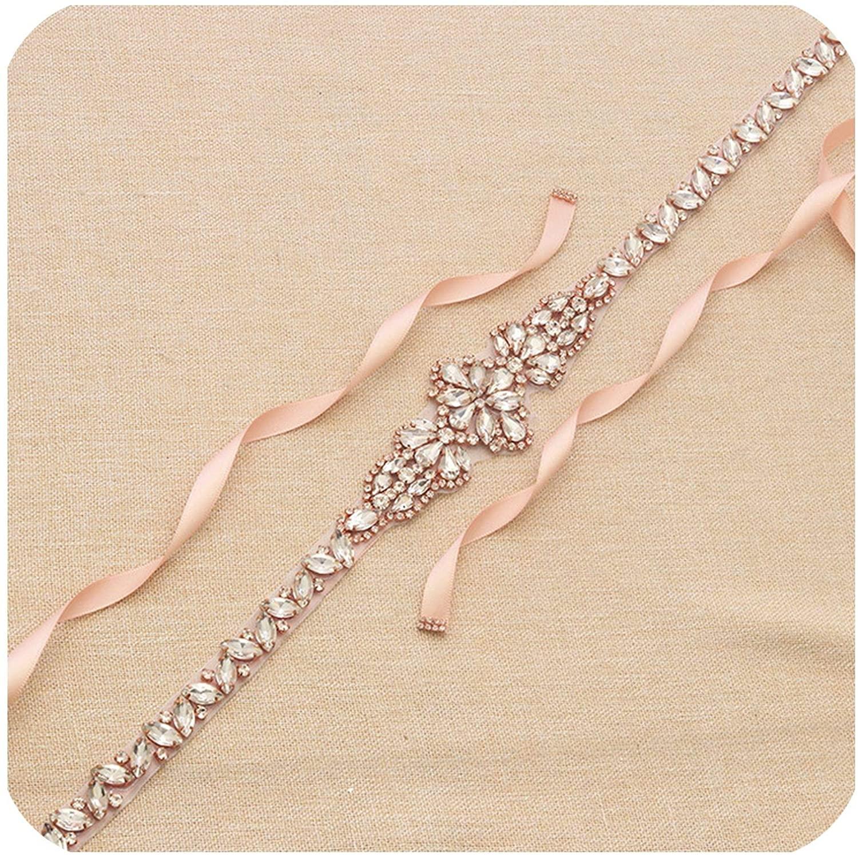 Rose Gold Rhinestone Crystal Bridal Belt And Sash Handmade Wedding Dress Waistband Dress Belt Accessories