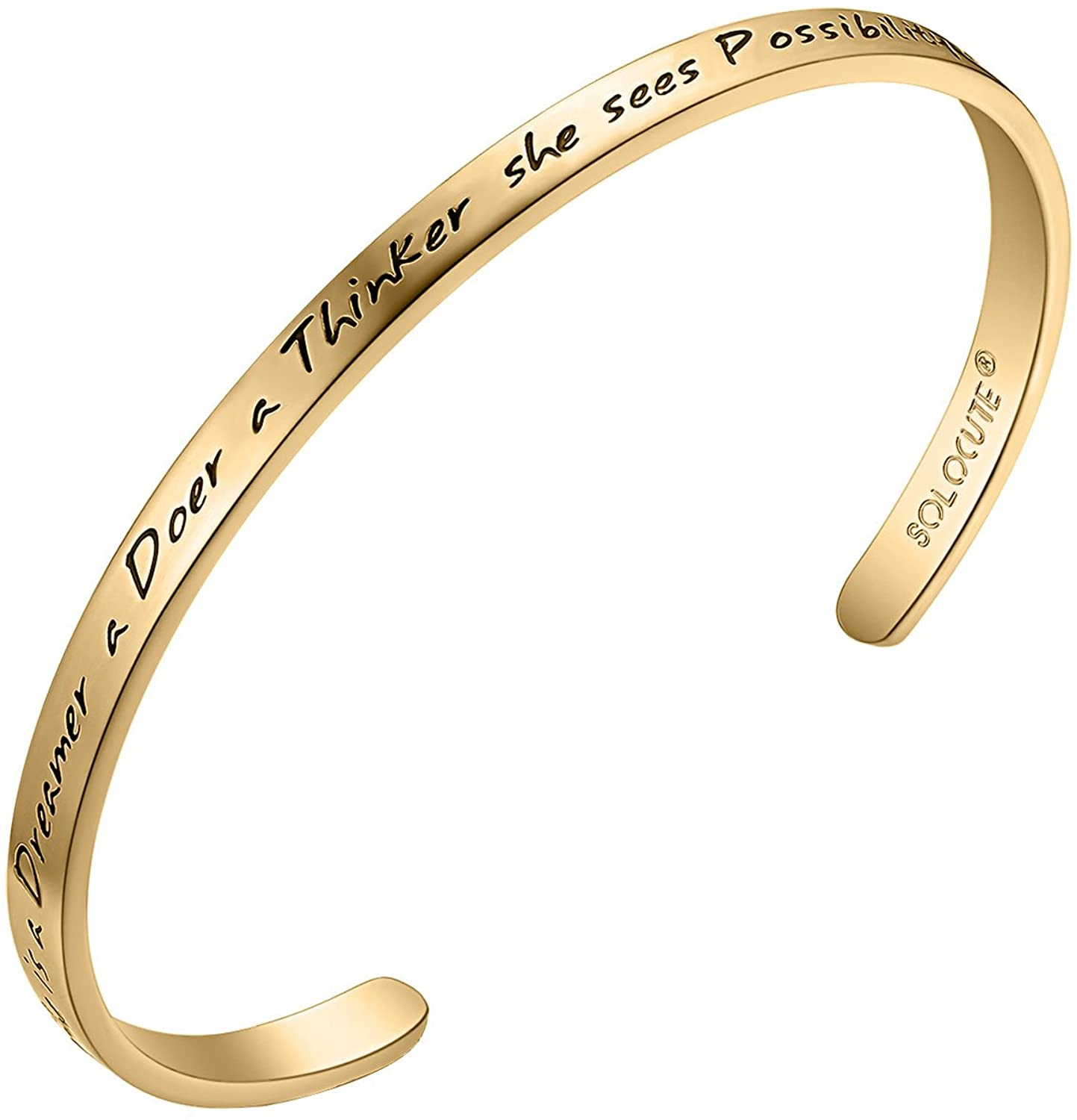 Solocute Mothers Day Inspirational Bangle Bracelet Engraved She is a Dreamer a Doer a Thinker she sees Possibility Everywhere Motto Jewelry Cuff, for Birthday, Anniversary Day