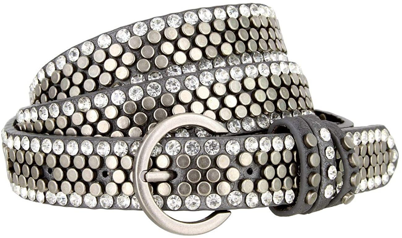 Women's Rhinestone and Flat Stud Covered Belt with Round Buckle 1