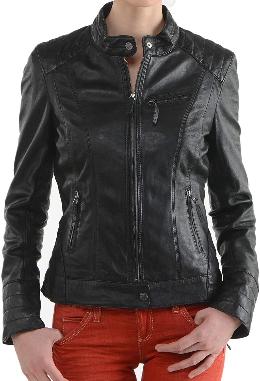 Womens Stylish Genuine Lambskin Motorcycle Bomber Biker Leather Jacket WJ 122