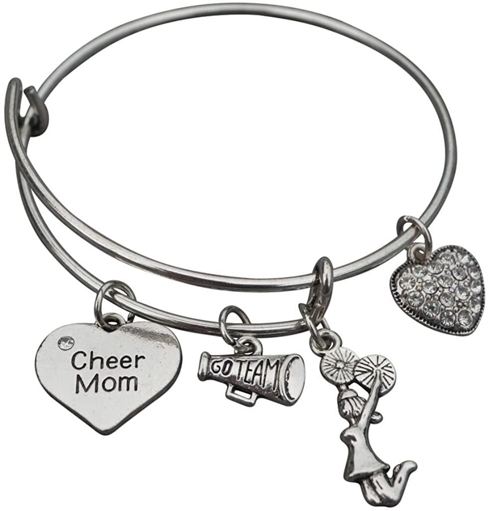 Infinity Collection Cheer Mom Jewelry- Cheer Mom Bracelet - Adjustable Cheer Mom Charm Bracelet- Perfect Cheerleading Mom Gift