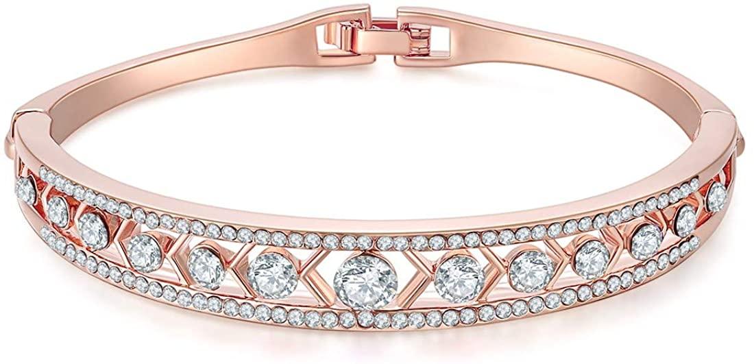 Jewels Galaxy Exclusvie Luxuria Elegant American Diamond 18K Rose Gold Plated Designer Adjustable Bracelet for Women/Girls