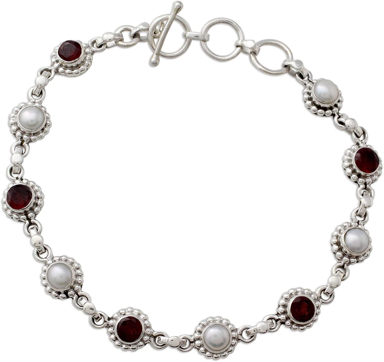 NOVICA Garnet Light Gray Cultured Freshwater Pearl Sterling Silver Link Bracelet, Petite Flowers