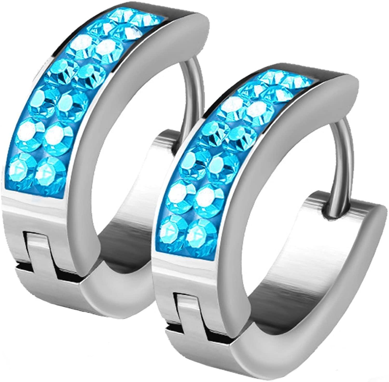 BodyJ4You Hoop Earrings Huggie Earrings CZ Inlaid Pave Aqua Crystal