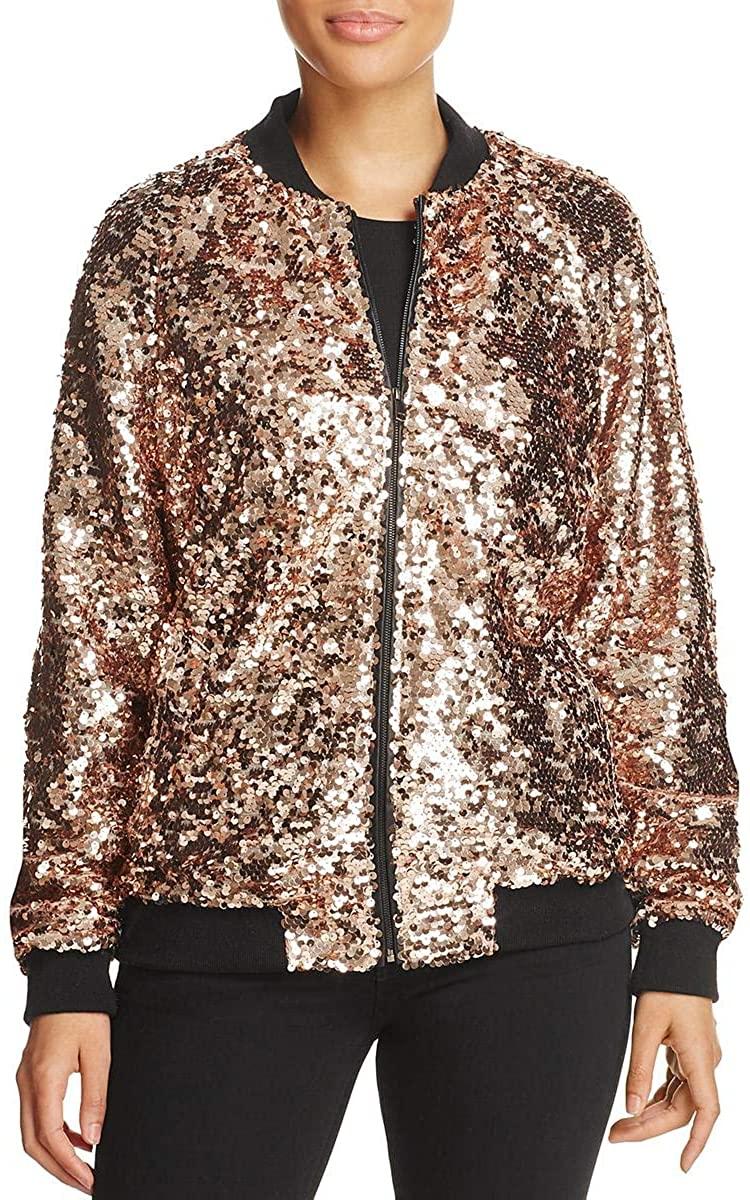Bagatelle Womens Sequined Metallic Bomber Jacket
