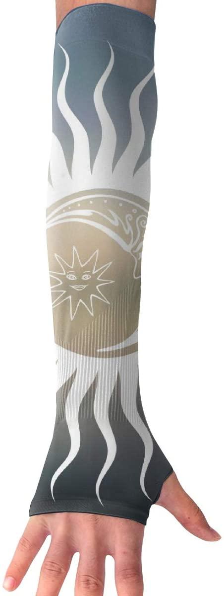 MASDUIH Sun and Moon Design Gloves Anti-uv Sun Protection Long Fingerless Arm Cooling Sleeve