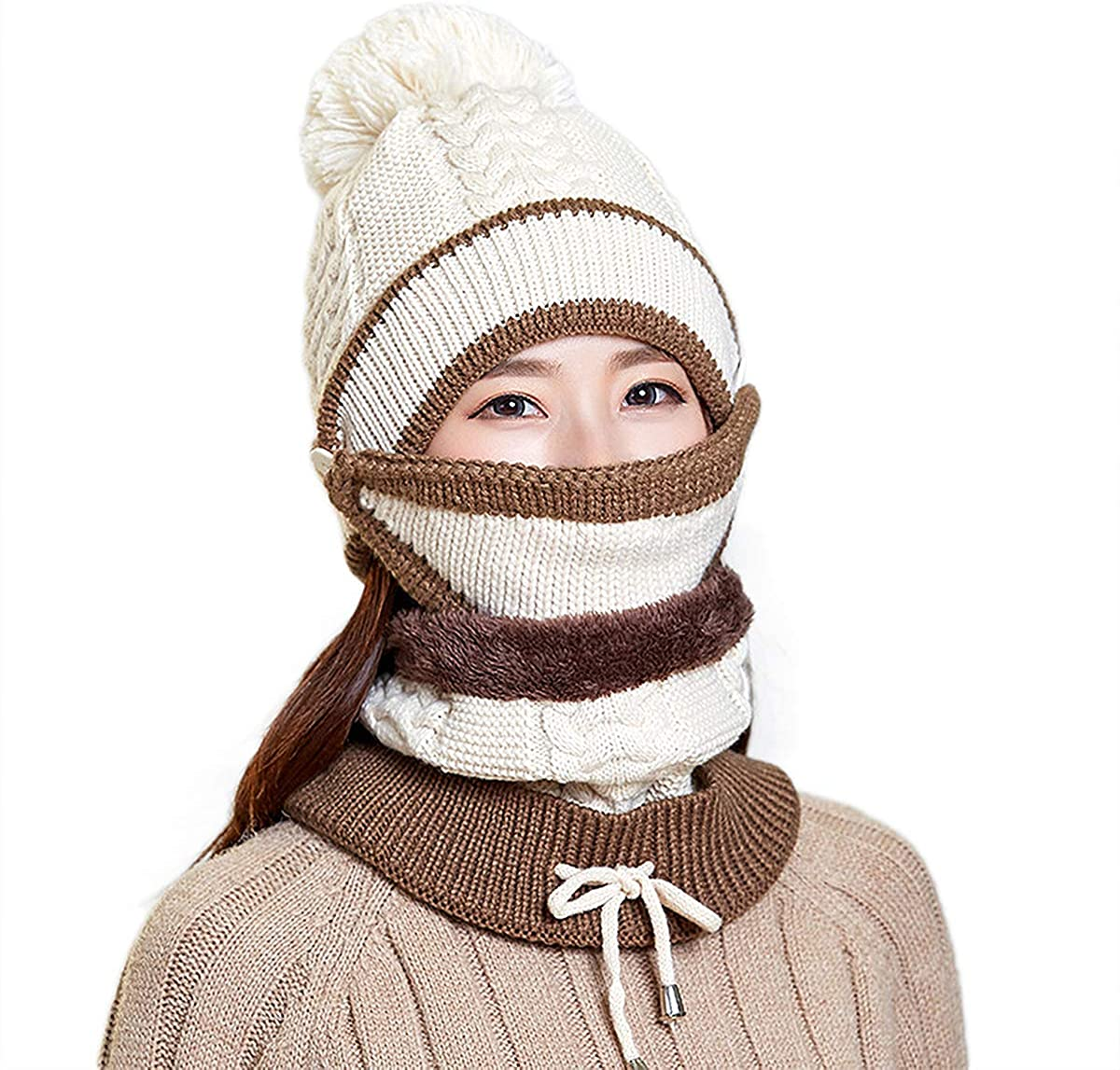 ba knife Fleece Lined Knit Beanie Scarf Mouth Mask Set for Girl and Women Winter Ski Hat with Pompom