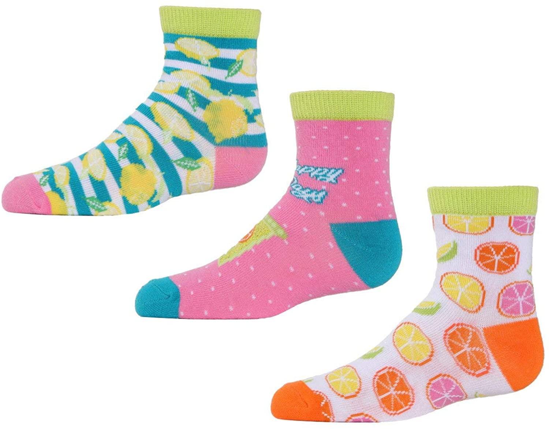 MeMoi Lemons Ankle Socks 3-Pack | Cute Socks for Girls