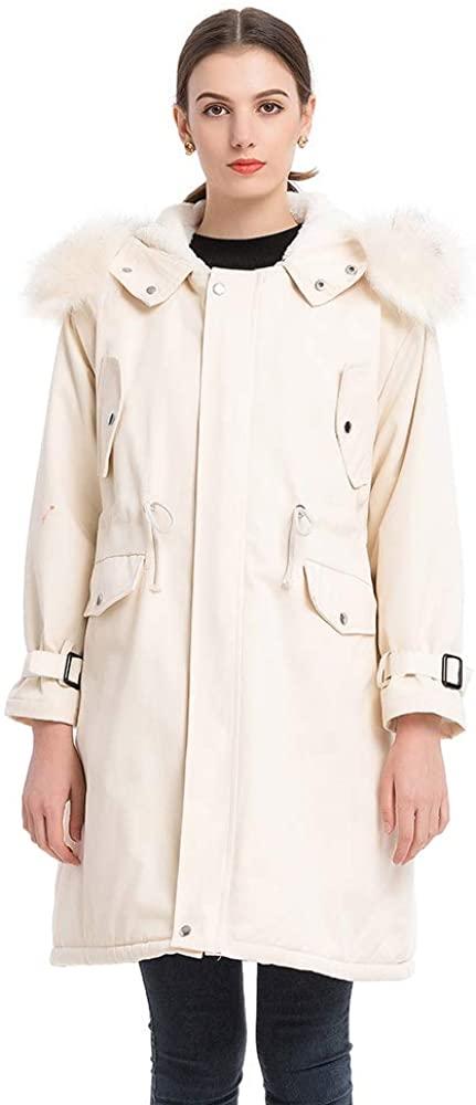Womens Hooded Warm Winter Coats Parkas with Faux Fur Lined Outwear Jacket