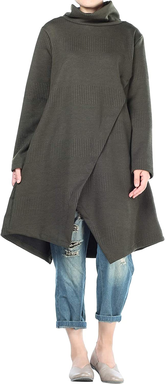 Mordenmiss Women's Sweater Tunic Dress Cowl Neck Pullovers Long Sleeve Asymmetry Hem Tops